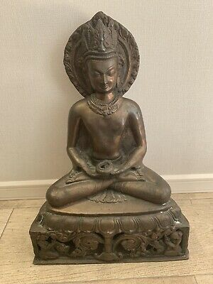 Large Antique Bronze Buddha Figure - 40cm High - Impressive Figure Statue • 295£