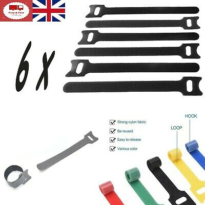 5x Velcro Strap Cable Ties REUSABLE Wire Strap Wrap Cable Tidy Bundle One Wrap • 2.89£