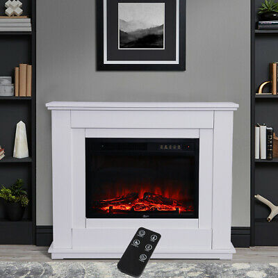Free Standing Electric Fireplace Log Burning Flame Effect Modern Surround Heater • 189.95£