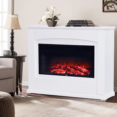 34Inch Electric Fireplace LED Log Fire Burning Flame Heater With Surround Mantel • 307.14£