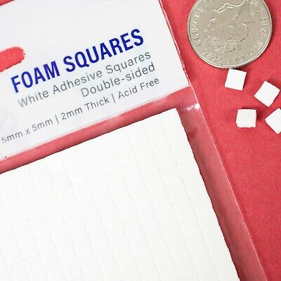 £2.25 • Buy 400 DOUBLE SIDED STICKY SMALL FOAM TABS Craft Fixing Adhesive Pads Pack 5x5x2mm