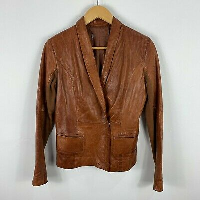 AU59.95 • Buy Italian Leather Jacket Womens Size 42 AU 8 Brown Genuine Snap Button Stunning