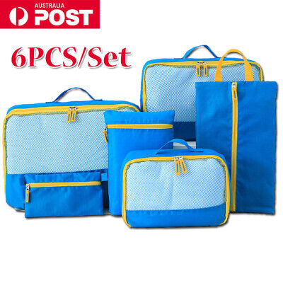 AU11.99 • Buy 6pcs Travel Packing Cubes Luggage Suitcase Storage Bags Clothes Organiser Pouch