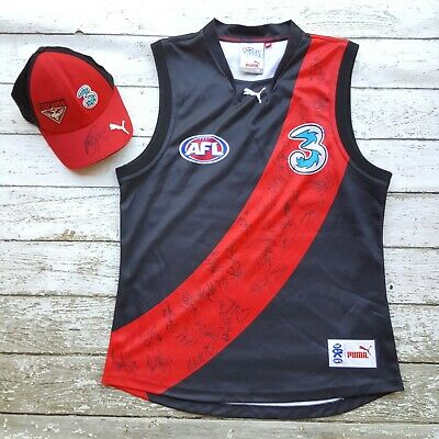 AU200 • Buy AFL ESSENDON BOMBERS 2008 Team Signed On-Field Puma Jumper Guernsey Adult + Hat