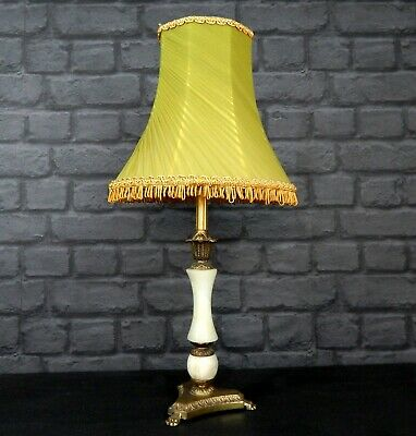 £79.99 • Buy Vintage Ornate Table Lamp With Tassel Light Shade - Onyx & Antique Brass Style