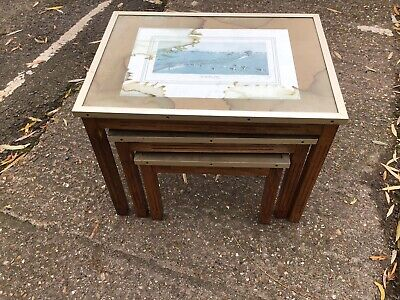 Vintage Set Of 3 Nesting Coffee Tables - Wood With Glass Tabletop • 30£
