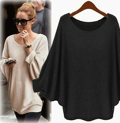 Women Plain Oversized Baggy Batwing Sleeve Knitted Sweater Jumper Pullover Tops • 12.44£