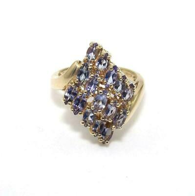£151.33 • Buy 10K Yellow Gold Ring Size 8 Purple Tanzanite Cluster Cocktail