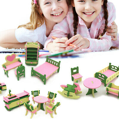 £4.19 • Buy Wooden Furniture Dolls House Set Room Family People Miniature Toys Kids Gifts UK