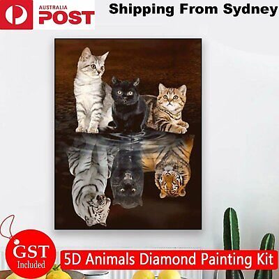 AU8.99 • Buy 5D Animals Diamond Painting Kits Full Drill Art Embroidery Decors Cats Gifts DIY