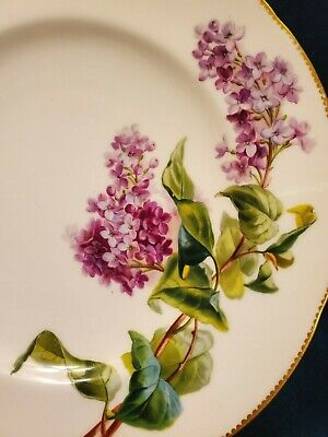 Early Hand Painted Minton Cabinet Plate Lilac Floral Gold  Old Merchant Label • 60.09£