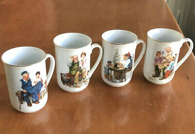 $ CDN17.82 • Buy Vintage 1982 Norman Rockwell Museum Collection Set Of 4 Coffee Cups Mugs