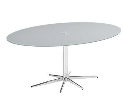 Dwell Dining Table Oval Stone Glass Chrome And 4 Ghost Dining Chairs • 275£