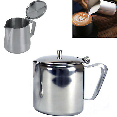 £6.29 • Buy Stainless Steel Milk Pitcher With Lid Frothing Tee Coffee Latte Jug 24OZ,32OZ