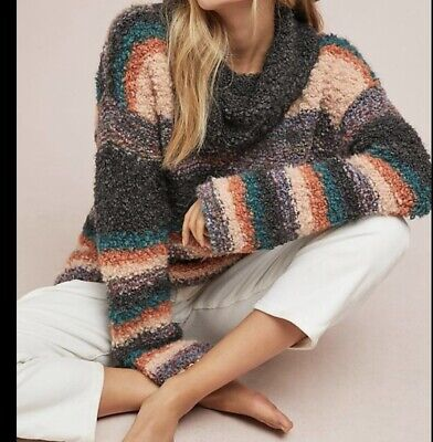 $ CDN38.14 • Buy Anthropologie Moth Murray Striped Chunky Turtleneck Sweater Size XS Italy