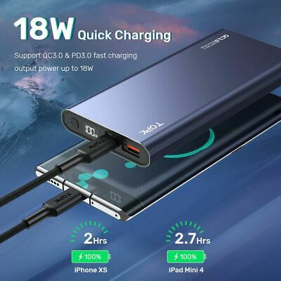 AU32.95 • Buy TopK Power Bank 10000mAh Portable Charger PD QC 3.0 Two Way-Fast Charge 18W LED