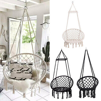 Hanging Hammock Rope Swing Chair Macrame Soft Outdoor Indoor Patio Garden Seat • 167.94£