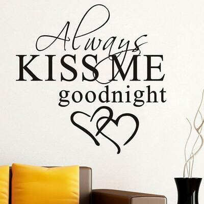 ALWAYS KISS ME GOODNIGHT LOVE Quotes Wall Stickers Decals Bedroom Removable P9P7 • 2.04£