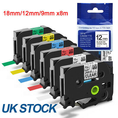 Compatible Brother TZ Tze Label Tape Printer P-Touch Laminated 18mm/12mm/9mm 8m • 3.78£
