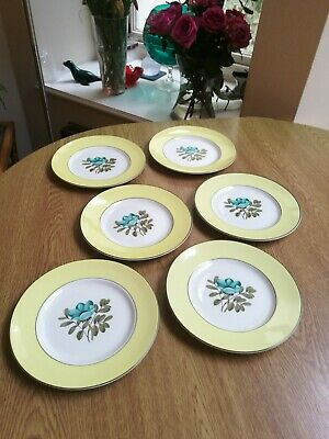 £7.50 • Buy Ridgway Pottery 6 X Side Plates 6.75  Teal Blue Flowers With Yellow Band Superb