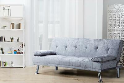 Italian Designer Crush Velvet Style Sofa Bed With Chrome Legs In 4 Colours • 159.99£