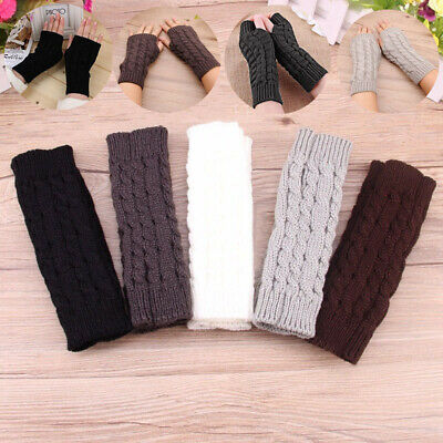 £2.90 • Buy Fingerless Knitted Long Gloves Mittens Arm Warmer Protected Lady Girl Gloves New
