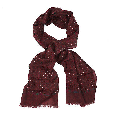 $175 • Buy Isaia Burgundy And Slate Gray Dot Print Lightweight Cashmere And Wool Scarf NWT