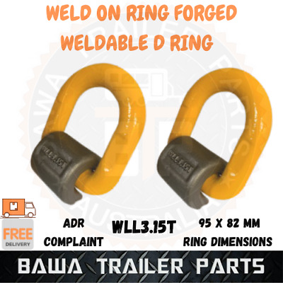 AU59.95 • Buy 2x Weld On Forged Ring Trailer Tie Down Anchor Point Weldable Lashing D Ring 3T