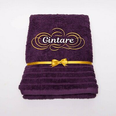 New EMBROIDERED PERSONALISED NAME BATH TOWEL Gift Set ANY NAME Combet Cotton • 14.99£
