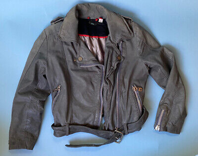 AU183.55 • Buy DOMA Cropped Moto Biker Leather JACKET Belted Sz 0 2 Gray