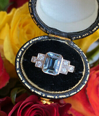 Art Deco Aquamarine And Diamond Platinum Ring 0.25ct + 1.35ct • 1,195£