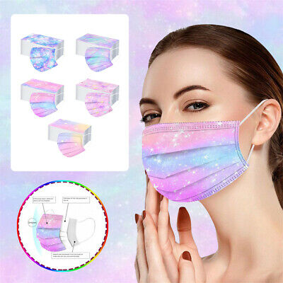50X Surgical 3 PLY Disposable Face Mouth Masks Anti-Dust Melt Blown Cloth Masks+ • 10.19£