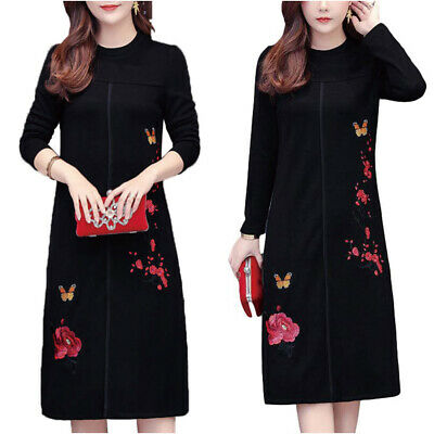 Women Floral Long Sleeve Shift Dress Ladies Front Slit Casual Midi Dresses Tunic • 16.39£