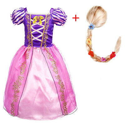 Girl Princess Dress Rapunzel Tangled Cosplay Kids Pageant Party Gown Clothes Wig • 9.59£