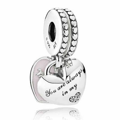 Genuine Silver PANDORA Mother & Daughter Always There Hearts Charm 792072EN40 UK • 15.58£