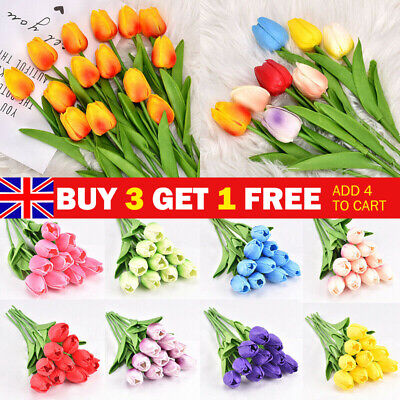 10PCS Artificial False Tulip Flower Silk Fake Bouquet Home Wedding Decor UK • 6.69£
