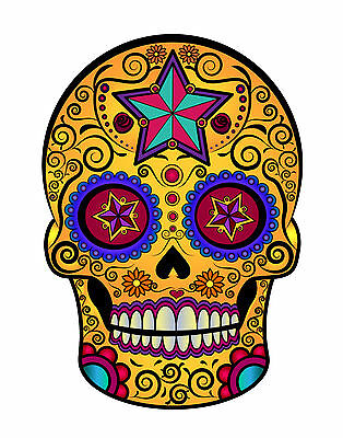 £2.99 • Buy Pack Of 2 Day Of The Dead Sugar Skull Wall Decal Sticker Car Motorbike Laptop