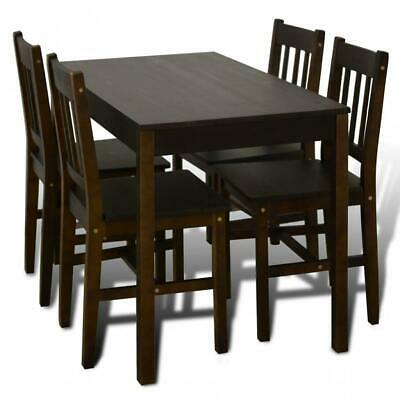 AU316 • Buy 5 Piece Wooden Dining Dinner Breakfast Table And Seat Chairs Set - Brown