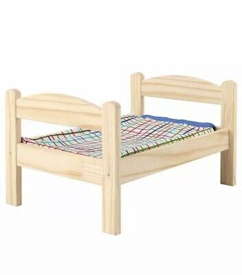 IKEA DUKTIG Doll's Bed With Bed Linen Set,  Pine, Multicolour • 26£