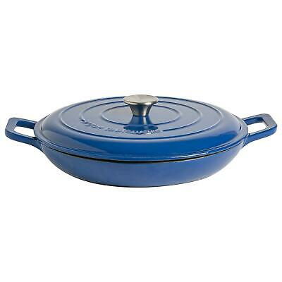 £26.99 • Buy Cast Iron Shallow Casserole Dish With Lid Enameled Hob Oven 30cm Midnight Blue
