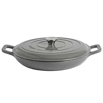 £26.99 • Buy Cast Iron Shallow Casserole Dish With Lid Enameled Hob To Oven 30cm Slate Grey