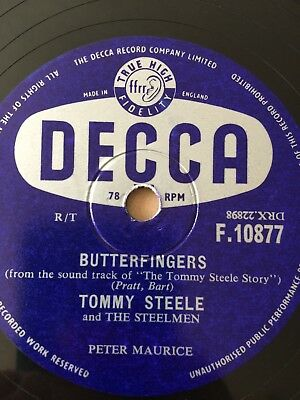 * Tommy Steele BUTTERFINGERS CANNIBAL POT Decca 78rpm Gramophone Record R276 • 8.97£