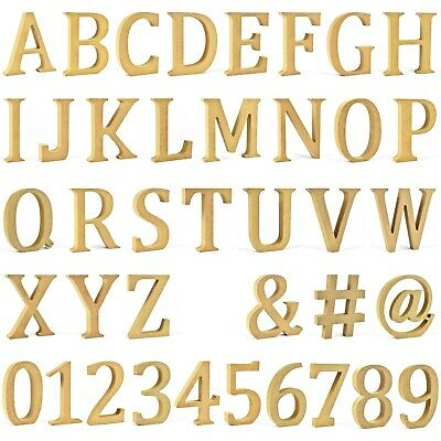 LARGE MDF LETTERS NUMBERS SYMBOLS Freestanding Wooden Names 20mm Thick 12cm High • 2.79£