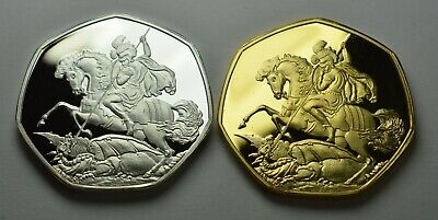 £11.99 • Buy Pair Of ST GEORGE & THE DRAGON 24ct Gold Commemoratives. Patron Saint, England