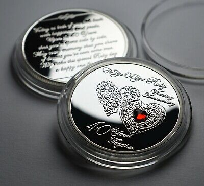 £9.99 • Buy 40th RUBY WEDDING ANNIVERSARY Silver Commemorative With Gemstone. Gift/Present