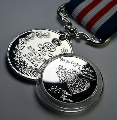 £12.99 • Buy 25th SILVER WEDDING ANNIVERSARY Commemorative Plus SERVICE MEDAL! Gift/Present