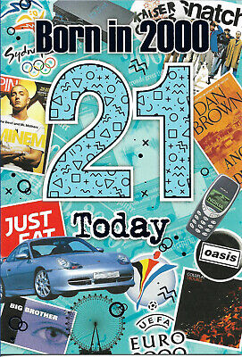£2.68 • Buy 21st Male Year You Were Born Greeting Card With Facts About 2000 New Free P&p