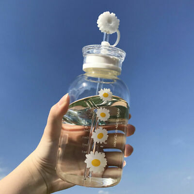 Glass Water Bottle With Straw Creative Daisy Frosted Transparent Cup Leakproof • 19.55£