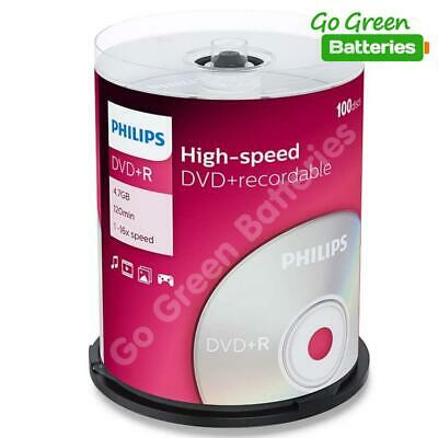 £20.99 • Buy Philips DVD+R Blank Recordable Discs 4.7GB 120 Mins 1-16x Speed Spindle 100 Pack