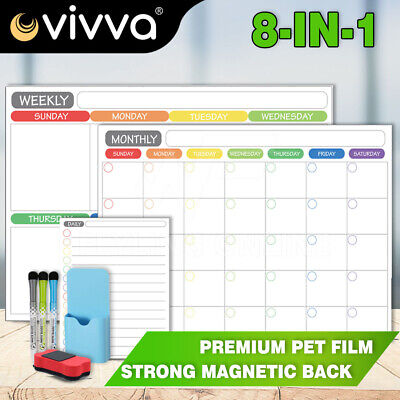 AU23.25 • Buy A3 Magnetic Fridge Whiteboard Dry Erase Calendar Planner Monthly Weekly Daily